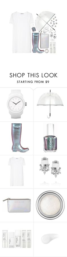 """""""holographic rain"""" by myduza-and-koteczka ❤ liked on Polyvore featuring Diesel, Futai, Hunter, Essie, T By Alexander Wang, Noir Jewelry, Marc by Marc Jacobs, Christian Dior, NARS Cosmetics and Urban Decay"""