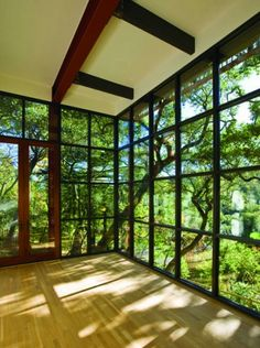 interior design yoga room yoga zen zen room windows nature natural trees