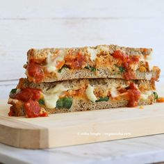 Lasagna Grilled Cheese. Nut-free Soy-free Vegan Recipe- The alfredo sauce for this recipe sounds delish!
