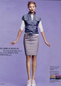 J.Crew - Chambray popover, white tee, pencil skirt.