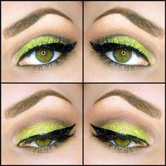 Lime green glitter look using urban decay's electric palette
