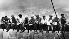 1932 - New York Construction Workers Lunching on a Crossbeam during construction of 30 Rockefeller Plaza in Manhattan, New York City, United States