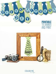 printable father's day tie banner and print that doubles as a cheesy paper tie for dad to wear! Fathers Day Banner, Fathers Day Crafts, Mother And Father, Father Sday, Printable Banner, Printables, Bunting Banner, Buntings, Banners