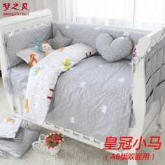 7 Pcs/sets cartoon crib cotton crib bumper baby cot sets baby bed protector child bedding set pillowcase duvet cover flat sheet