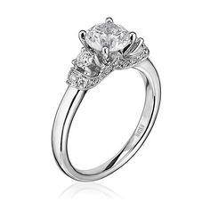 Scott Kay 0.38 Carat Three Stone Diamond Tiara Engagement Ring With Millgrain in 14K White Gold