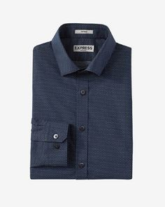 fitted micro dot print non iron dress shirt from EXPRESS