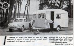 Renault Dauphine and Sprite Alpine in 1958 advert Vintage Rv, Vintage Caravans, Vintage Campers, Vintage Trailers, Vintage Trucks, Citroen Ds, Camper Caravan, Camper Van, Peugeot
