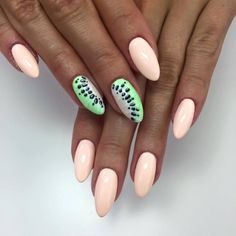 Ibiza Chill, Nevermint, Paint Gel Black, Sugar Effect by Sonia, Indigo Wroclaw How To Do Nails, Fun Nails, Stiletto Nails, Matte Nails, Fruit Nail Designs, Fruit Nail Art, Watermelon Nails, Peach Nails, Indigo Nails