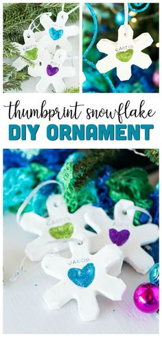 These Thumbprint Snowflake Ornaments are such a fun DIY kids ornament. All you need is some modeling clay glue and glitter! Kids Christmas Ornaments, Kids Ornament, Clay Ornaments, Christmas Crafts For Kids, Christmas Diy, Homemade Ornaments, Kids Crafts, Xmas, Snowflake Decorations