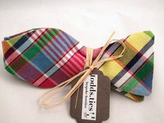 Handmade Bowtie  Madras print by toddsties on Etsy