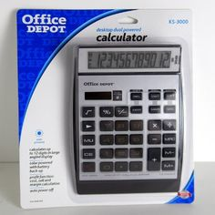 "Office Depot(R) KS-3000 12-Digit Calculator by Office Depot. $14.00. The KS-3000 offers several easy-to-use functions.  Includes a correction function, tax calculations, profit margin calculations, grand-total calculations and time calculation.  3-key memory for easy retrieval.   Easy-to-read display has 12 characters on 3 lines.   The KS-3000 is a dual battery/solar powered calculator.  ?1 1/8""H x 5 1/2""W x 7 7/8""D.. Save 30%!"