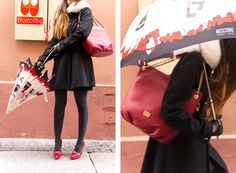 bag Love Moschino, umbrella Moschino Cheap and Chic and red shoes Love Moschino with bow
