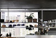 Estantes y armarios abiertos Hanging Cabinet, Conference Room, Divider, Interior Design, Storage, Table, Kitchens, Furniture, Decoration
