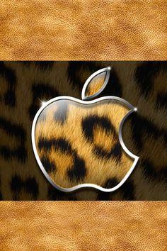 ヒョウ柄ゴールドのアップルロゴ