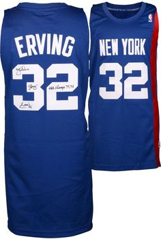 f1c2c29f9 Julius Erving New York Nets Fanatics Authentic Autographed Adidas Swingman  Blue Jersey with 74   76 ABA Champs Inscription