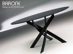 Table ronde BARONE, Acier et Verre, D 130 et D 150 cm, Design BY BONTEMPI CASA
