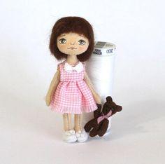 Miniature cloth doll  Tiny doll Rag doll in box Mini doll Doll