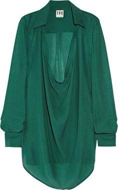 ShopStyle: Haute Hippie Draped silk blouse