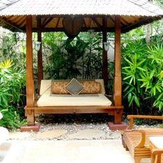 Asian Home Gazebos Design, Pictures, Remodel, Decor and Ideas Outdoor Hanging Bed, Outdoor Daybed, Outdoor Rooms, Outdoor Living, Outdoor Decor, Patio Daybed, Hanging Beds, Outdoor Lounge, Balinese Garden