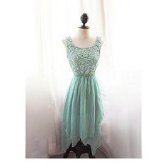 Mermaid Tears Seafoam Blue Medieval Mint Green Dress Minty Marie Antoinette Alice in Wonderland Bohemian Ethereal Jane Austen Dress Gown. $79.80, via Etsy.