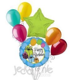 7 pc Colorful Presents Happy Birthday Balloon Bouquet Decoration Blue Pink Lime