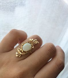 Hey, I found this really awesome Etsy listing at https://www.etsy.com/listing/206458342/vintage-opal-diamond-ring-opal-ring-14k
