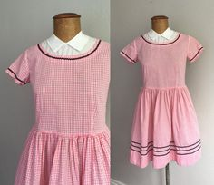 Vintage 1960s Gingham Dress / 50s 60s Baby Pink Ric Rac Trim Collared Cotton Dress - Small
