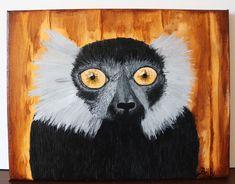 Lemur painting 24x30cm ©Billy Lemur, Acrylic Paintings, Owl, Bird, Canvas, Cake, Animals, Tela, Animales