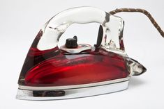 "Art Deco Red Saunders Pyrex Glass ""Silver Streak"" Iron"