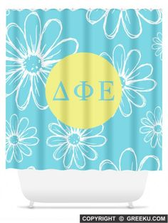 Sorority Daisys Blue Shower Curtain | Free Shipping. Order for your sorority (shown in Delta Phi Epsilon)! ** Also comes in other designs. Shop now! http://www.greeku.com/sorority/merchandise/home-decor/shower-curtains/daisys-blue-shower-curtain/