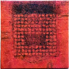 D-2.Sep.1998 30x30cm Mixed media/ paper making, painting, collage on panel  林孝彦 HAYASHI Takahiko 1998