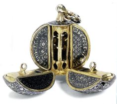 Round aromatnitsa in the form of an apple, Italy, c. 1350 - the aromatnitsa is divided into four 'slices,' each designed to hold a particular scent; assembled, it was worn around the neck or waist. Instead of bathing I suspect :) Medieval Jewelry, Ancient Jewelry, Antique Jewelry, Vintage Jewelry, Vintage Purses, Vintage Art, Vanitas, Antique Perfume Bottles, Objet D'art