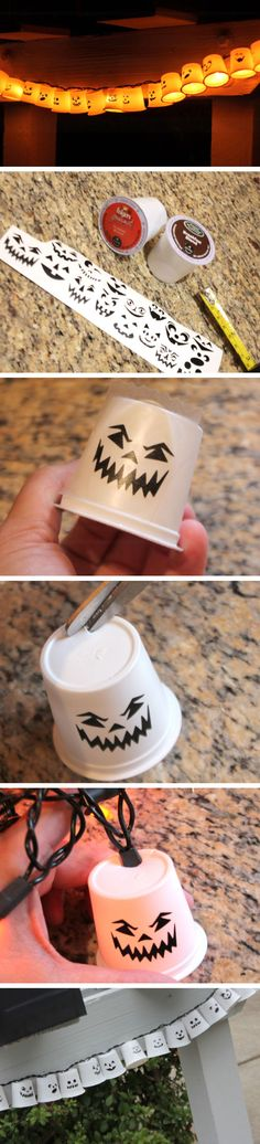 K-Cup Recycled Garland | Click Pic for 20 DIY Halloween Decorations for Kids to Make | Cheap and Easy Halloween Decorations on a Budget