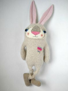 Rabbit Stuffed Animal Plush Repurposed Wool by sweetpoppycat