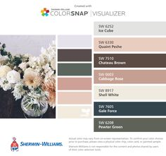 I found these colors with ColorSnap® Visualizer for iPhone by Sherwin-Williams: Ice Cube (SW 6252), Quaint Peche (SW 6330), Chateau Brown (SW 7510), Cabbage Rose (SW 0003), Shell White (SW 8917), Gale Force (SW 7605), Pewter Green (SW 6208).