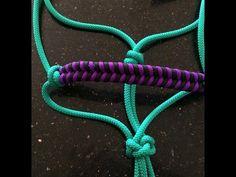 2 Paracord horse halter nosebands - 2 different simple weave (fishtail) nosebands. - YouTube