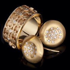 """""""Beautiful range of MARIKA """"desert gold"""" jewellery in store now! 14k and diamonds ring and earrings, more to come! #marika #jewellery #gold #ring #earrings…"""""""