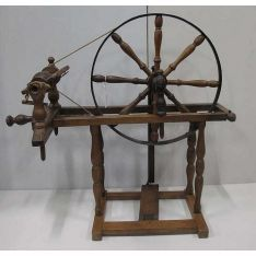 Antique French fruitwood spinning wheel 84 cm x 78 cm high