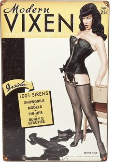 RETRO A GO GO BETTIE PAGE MODERN VIXEN TIN SIGN