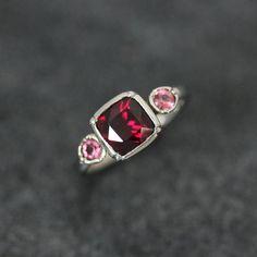 Dark Raspberry Rhodolite Garnet with Bubblegum pink Rhodolite Garnet Recycled 14k Palladium White Gold