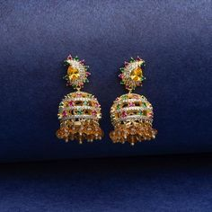 Designer jhumka earrings for girls. Traditional earrings jhumka in rose gold plating and luxurious Swarovski crystals and Austrian crystals. Earrings for ethnic wear and festivals. Gold Jhumka Earrings, Statement Earrings, Women's Earrings, Off Shoulder Gown, Traditional Earrings, Royal Jewelry, Girls Earrings, Austrian Crystal, Gold Plating