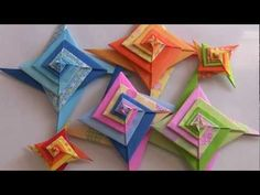 how to make a origami spiral bowl Origami Toys, Origami And Kirigami, Fabric Origami, Oragami, Diy Paper, Paper Art, Paper Crafts, Shuriken, Origami Wall Art