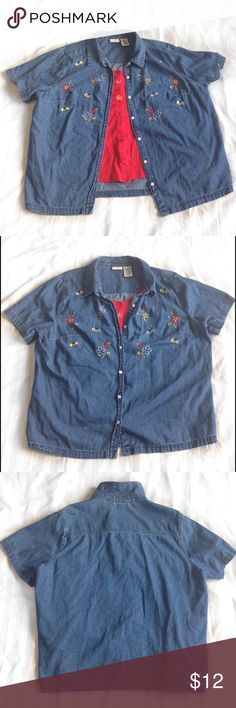 """White Stag Women's Denim Shirt Beautiful Denim Shirt / Blouse Size Plus Woman 22W/24W Bees and flowers design. 100% Cotton. Great condition!  Bust 54"""" All-around Front Length 29"""" Shoulder to shoulder 18"""" Sleeve Length 9 1/2""""  🔥 SALE 🔥 5 ITEMS marked 🎀 FOR $20! Like the 5 items you'd like to purchase and ask me to create a bundle listing for you! Or 🛍15% Off 2+ Bundle! 📦I ship same or next day! 🚭From a smoke free home. White Stag Tops Button Down Shirts"""