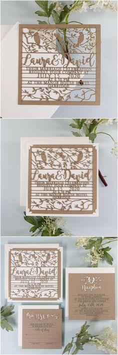 Wedding Laser Cut Boho Vintage Bird Kraft Eco Paper Invitation Calligraphy Font with Envelopes, Wedding Invitations