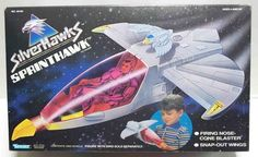 "The Sprinthawk, a vehicle from the sci-fi / western ""SilverHawks"" line of toys in the 1980s"