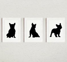 French bulldog Set Black Dog SIlhouettes Set of by ColorWatercolor