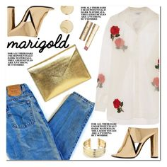 """""""Stay Golden: Dressing in Marigold"""" by leathersatchel ❤ liked on Polyvore featuring Levi's, The Leather Satchel Co., Ashish, Tom Ford, Belk Silverworks, Stila and Sunday Somewhere"""