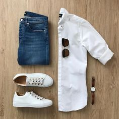Men Casual Shirt Outfit 🖤 Very Attractive Casual Outfit Grid, Outfits In Weiss, Neue Outfits, Look Man, Casual Outfits, Fashion Outfits, Casual Attire, Work Attire, Work Outfits, Fashion Clothes