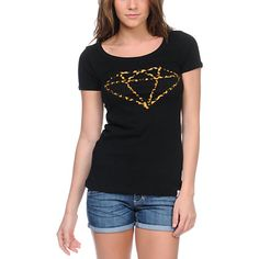Go wild but rep the best in the Leopard Rock scoop neck t-shirt for girls from Diamond Supply Co This slim fit all black t-shirt features a scoop neck, short sleeves, and a ferocious animal print All Blacks T Shirt, Neck T Shirt, Tee Shirt, Urban Fashion Women, Diamond Supply Co, Shirts For Girls, Looks Great, Scoop Neck, Street Wear