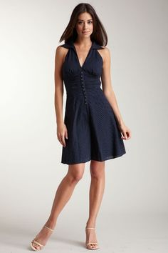 Guess Eyelet navy blue summer dress ~  - Collared halter top  - V-neckline  - Ruched at waist with hook and eye detail  - Eyelet skirt  - Side zip